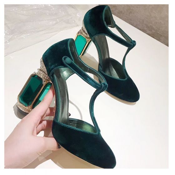 Charming Dark Green Prom Rhinestone Suede Womens Sandals 2021 Leather 10 cm Synthetic Gemstones Thick Heels T-Strap Round Toe High Heels