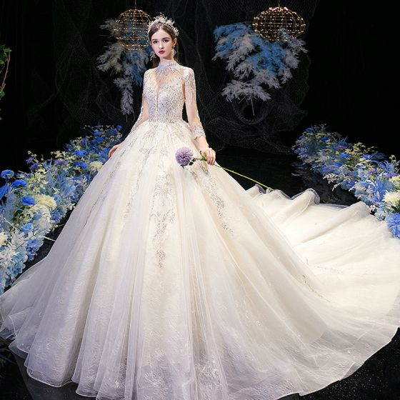 High-end Champagne See-through Bridal Wedding Dresses 2020 Ball Gown High Neck 3/4 Sleeve Appliques Lace Sequins Beading Cathedral Train Ruffle