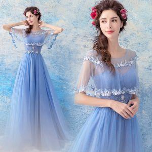 Schöne Himmelblau Abendkleider 2017 A Linie Tülle U-Ausschnitt Applikationen Rückenfreies Perlenstickerei Abend Festliche Kleider