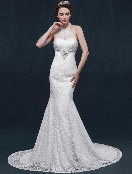 Sirène Halter Perles Robe De Mariée En Dentelle De Perles De Cristal Strass
