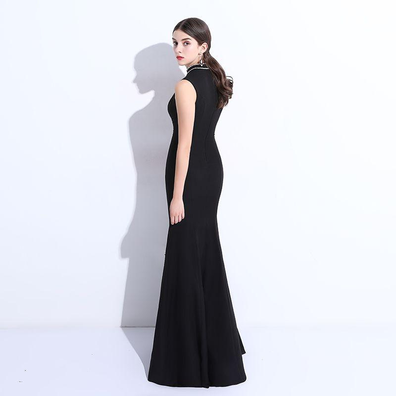 Modest / Simple Black Evening Dresses  2018 Trumpet / Mermaid Beading Scoop Neck Floor-Length / Long Formal Dresses