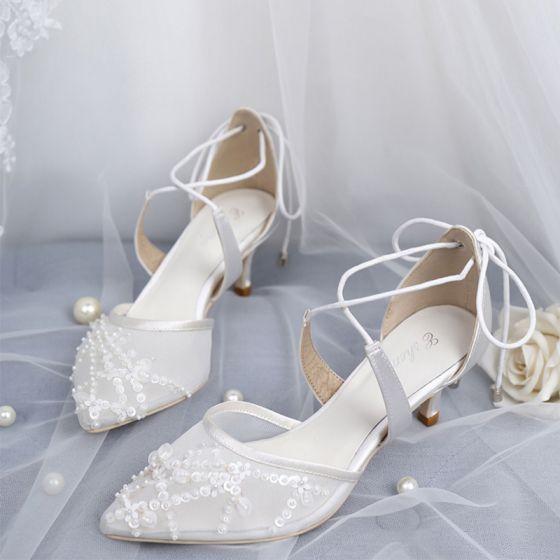 Elegant Hvit Brudesko 2019 X-Stropp Blonder Paljetter Sløyfe 5 cm Stiletthæler Spisse Bryllup Høyhælte