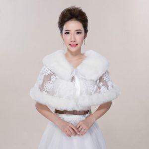 Winter Witte Kant Nep Bont Huwelijk Gala Sjaals 2017