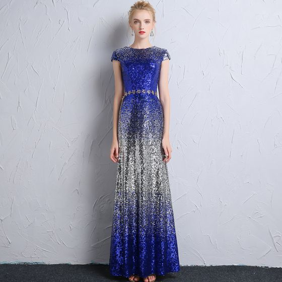 Sparkly Royal Blue Silver Sequins Evening Dresses  2018 Trumpet / Mermaid Scoop Neck Cap Sleeves Metal Sash Floor-Length / Long Formal Dresses