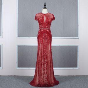 Luxury / Gorgeous Red See-through Evening Dresses  2020 Trumpet / Mermaid High Neck Short Sleeve Rhinestone Beading Sweep Train Ruffle Formal Dresses
