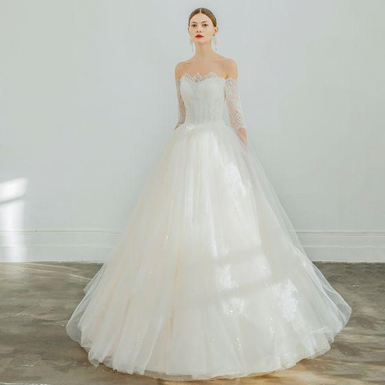 Elegant Champagne Wedding Dresses 2019 A-Line / Princess Off-The-Shoulder Lace Flower 1/2 Sleeves Backless Floor-Length / Long