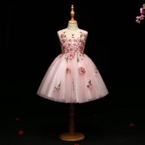 Schöne Rosa Mädchenkleider 2017 Ballkleid Mit Spitze Applikationen Perle Rundhalsausschnitt Ärmellos Kurze Kleider Für Hochzeit