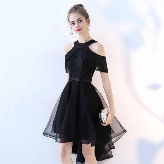 Hermoso Negro Vestidos de cóctel 2017 A-Line / Princess De Encaje Bowknot Scoop Escote Sin Tirantes Sin Espalda Manga Corta Asimétrico Vestidos Formales