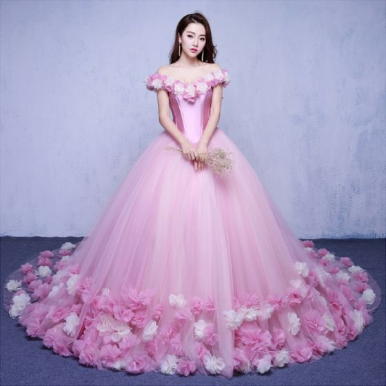 Elegant Candy Pink Wedding Dresses 2018 Ball Gown Liques Off The Shoulder Backless Short Sleeve Chapel