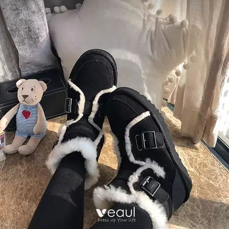 Stylowe Modne Czarne Snow Boots 2020 Wełniany Skórzany Botki Zamszowe Zima Mieszkanie Okrągłe Toe Przypadkowy Buty Damskie