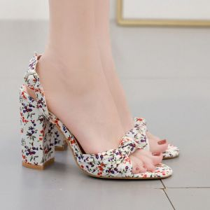 Chic / Beautiful White Casual Floral Womens Sandals 2020 11 cm Thick Heels Open / Peep Toe Sandals