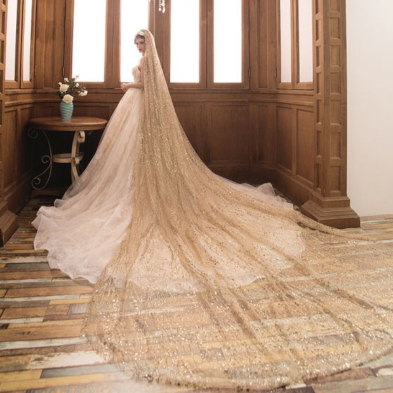 Bling Bling Gold Glitter Tulle 3 m Wedding Veils 2019