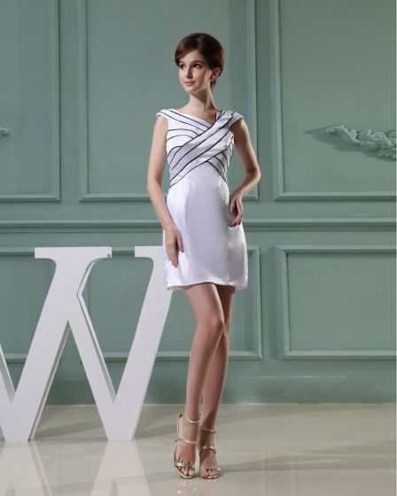 Charmeuse Silk Portrait Sleeveless Zipper Mini Wedding Dress
