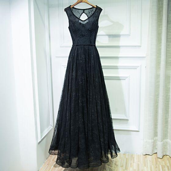 Czarne Eleganckie Sukienki Wizytowe Z Koronki Kwiat Wiązane Cekiny Długość Kostki V-Szyja Bez Rękawów Suknia Balowa Princessa 2017 Sukienki Wieczorowe