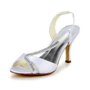 Élégante Peep Toe Talons Hauts Blancs Escarpins De Satin Chaussures De Mariée Avec Strass