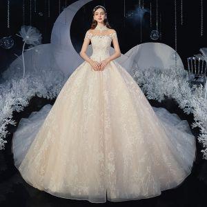 Kinesisk Stil Champagne Brud Bröllopsklänningar 2020 Balklänning Genomskinliga Hög Hals Ärmlös Halterneck Appliqués Spets Glittriga / Glitter Tyll Chapel Train Ruffle