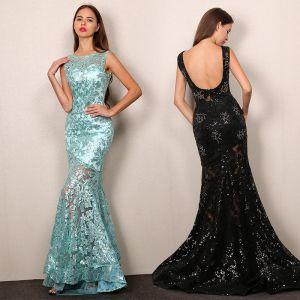 Sexy Black Evening Dresses  2019 Trumpet / Mermaid Scoop Neck Sequins Rhinestone Lace Flower Sleeveless Backless Sweep Train Formal Dresses