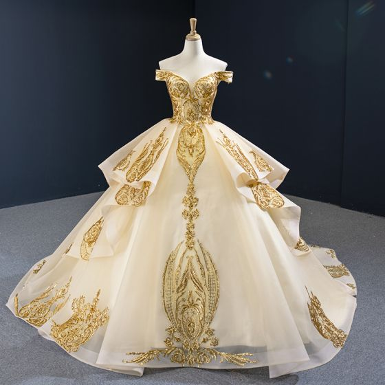 High-end Gold Wedding Dresses 2020 Ball Gown Off-The-Shoulder Short Sleeve Backless Appliques Sequins Court Train Ruffle