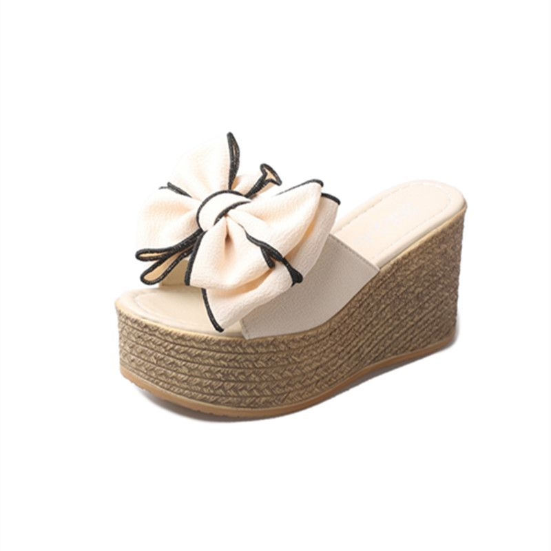Lovely Womens Sandals 2017 Open / Peep Toe 9 cm Platform Bow Suede Beige Sandals Slipper