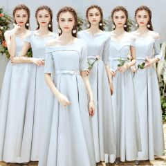 Chic / Beautiful Silver Bridesmaid Dresses 2019 A-Line / Princess Bow Sash Floor-Length / Long Ruffle Backless Wedding Party Dresses