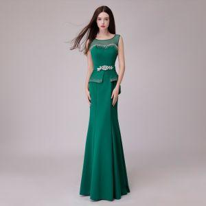 Vintage Grün Abendkleider 2018 Mermaid Strass Stoffgürtel Rundhalsausschnitt Rückenfreies Ärmellos Lange Festliche Kleider