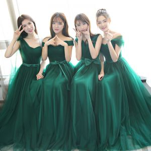 Modest / Simple Dark Green Bridesmaid Dresses 2018 A-Line / Princess Bow Sleeveless Backless Floor-Length / Long Wedding Party Dresses