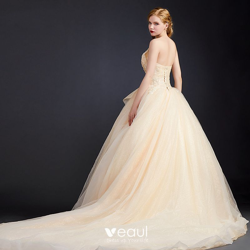 Luxury Gorgeous Champagne Wedding Dresses 2020 Ball Gown Sweetheart Sleeveless Backless Glitter Tulle Appliques Lace Beading Chapel Train Ruffle,Black And White Wedding Bridesmaid Dresses