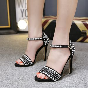 Chic / Beautiful Black Dating Womens Sandals 2020 Rhinestone Suede 8 cm Stiletto Heels Open / Peep Toe Sandals