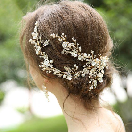 Charming Gold Bridal Jewelry 2020 Alloy Beading Pearl Rhinestone Earrings Bridal Hair Accessories