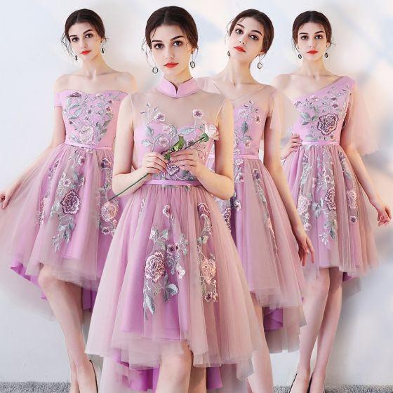 8a9aacb4fe Vestido Alto Lila Vestidos De Damas De Honor 2018 A-Line   Princess  Cinturón Bordado Asimétrico Ruffle Sin Espalda Vestidos para bodas