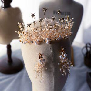 Mooie / Prachtige Goud Oorbellen Tiara Bruidssieraden 2020 Legering Ster Kristal Parel Huwelijk Accessoires