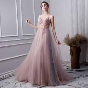 Charming Pearl Pink Evening Dresses  2019 A-Line / Princess Spaghetti Straps Beading Crystal Pearl Sequins Sleeveless Backless Split Front Floor-Length / Long Formal Dresses