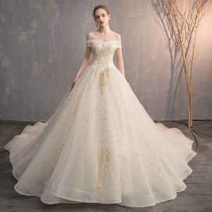 Charming Champagne Wedding Dresses 2019 A-Line / Princess Off-The-Shoulder Star Lace Flower Pearl Sequins Short Sleeve Backless Royal Train