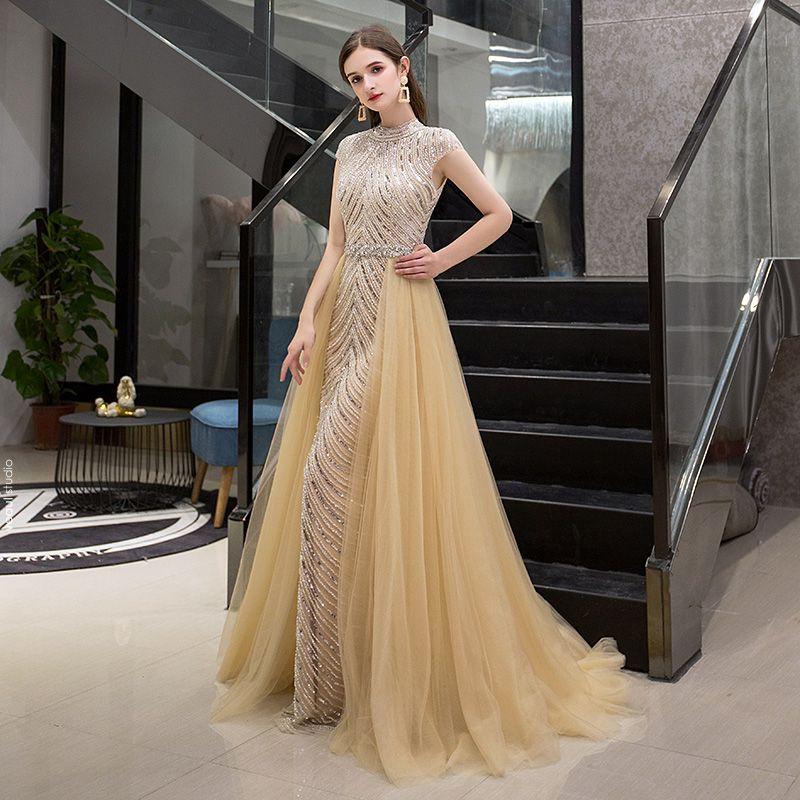 Luxury / Gorgeous Gold Evening Dresses  2019 A-Line / Princess High Neck Sleeveless Handmade  Sequins Beading Sweep Train Ruffle Formal Dresses