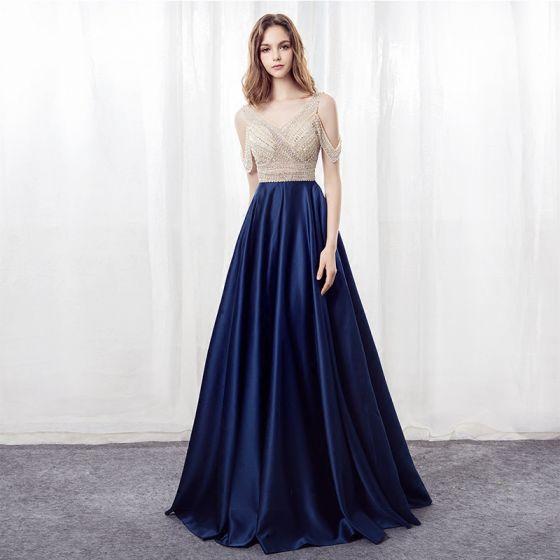 Stylowe / Modne Granatowe Sukienki Na Bal 2018 Princessa V-Szyja Bez Rękawów Bez Ramiączek Frezowanie Rhinestone Długie Bez Pleców Sukienki Wizytowe