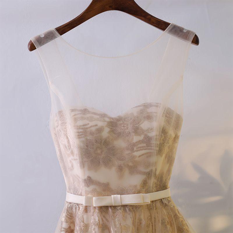 Elegant Brown Formal Dresses Graduation Dresses 2017 Lace Flower Sequins Bow Sleeveless Scoop Neck Short A-Line / Princess