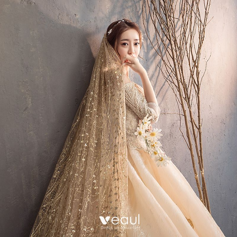Luxury / Gorgeous Champagne Wedding Dresses 2019 A-Line