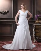 Elegant Chiffon V-Neck Chapel Train A-Line Bridal Plus Size Wedding Dress