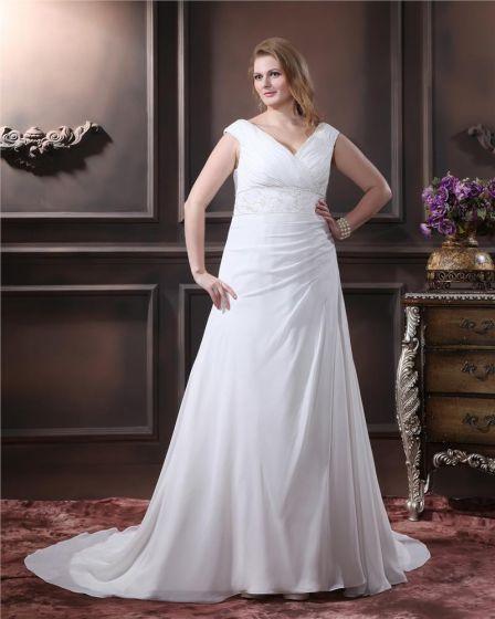 Elegant Chiffon V-Neck Chapel Train A-Line Bridal Plus Size Wedding Dress