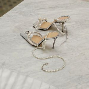 Sexy Argenté Soirée Faux Diamant Sandales Femme 2020 Perle Bride Cheville 9 cm Talons Aiguilles À Bout Pointu Sandales