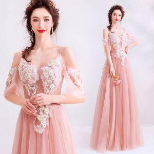 Elegante Pearl Rosa Abendkleider 2019 A Linie Spaghettiträger Strass Spitze Blumen Kurze Ärmel Rückenfreies Lange Festliche Kleider