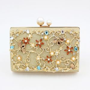 Amazing / Unique Gold Beading Crystal Rhinestone Cocktail Party Evening Party Clutch Bags 2018