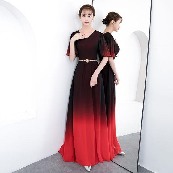 Chic / Belle Dégradé De Couleur Longue Robe De Soirée 2018 Princesse V-Cou Tulle Dos Nu Soirée Robe De Ceremonie