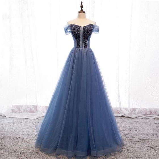 Elegancka Ciemnoniebieski Sukienki Wieczorowe 2019 Princessa Przy Ramieniu Frezowanie Kryształ Bez Rękawów Bez Pleców Trenem Sweep Sukienki Wizytowe