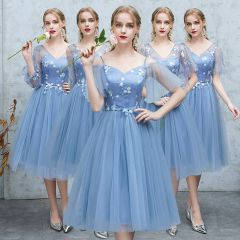 Affordable Ocean Blue See-through Bridesmaid Dresses 2019 A-Line / Princess Appliques Lace Tea-length Ruffle Backless Wedding Party Dresses