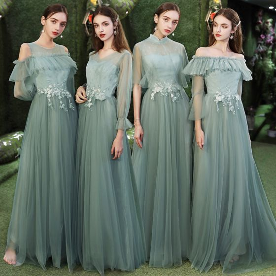 Affordable Green Bridesmaid Dresses 2020 A-Line / Princess Appliques Lace Floor-Length / Long Ruffle Backless Wedding Party Dresses