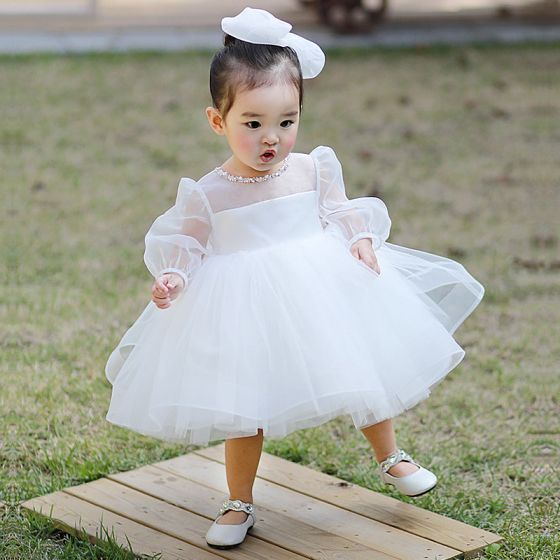 Victorian Style White See-through Flower Girl Dresses 2020 Princess Scoop Neck Puffy Long Sleeve Beading Bow Short Wedding Party Dresses
