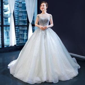 Uroczy Szary Przezroczyste Sukienki Na Bal 2020 Suknia Balowa Kwadratowy Dekolt Bez Rękawów Aplikacje Z Koronki Frezowanie Cekinami Tiulowe Trenem Sweep Wzburzyć Bez Pleców Sukienki Wizytowe