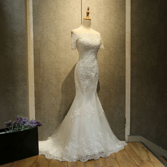 Chic / Beautiful Church Wedding Dresses 2017 White Trumpet / Mermaid Court Train Lace Appliques Backless Off-The-Shoulder Short Sleeve
