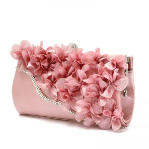 Chic / Beautiful Pearl Pink Rhinestone Flower Clutch Bags 2018